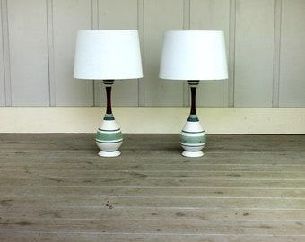 Mid Century Striped Ceramic Blue Green Walnut Wood Lamp Pair Modern Atomic Retro 50's 60's Danish Style