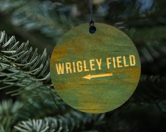 Wrigley Field Wood Ornament, Chicago Cubs Fan Sign Gift, 2016 World Series Baseball