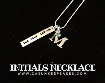 Initial Necklace   Keychain   Custom    Personalized Handstamped Jewelry