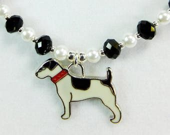 Jack Russell Terrier Black and White Enameled Pewter Pendant with Black Crystal Beads and White Glass Pearls Necklace