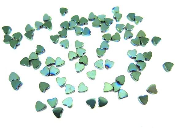 Tiny Mermaid Green Electroplated Hematite Heart Beads - (50x) (NS567)