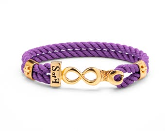 Infinity Bracelet Gold with Purple Marine Rope (Free shipping)