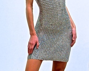HOLIDAY SALE 60% OFF!!! Trashion - Silver Upcycled Aluminum Dress