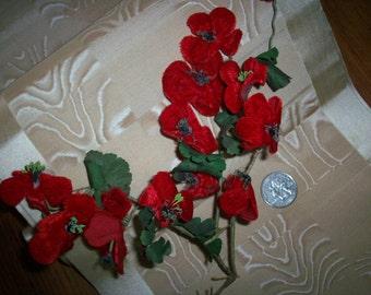 Vintage colorful Scarlett Red velvet flowers