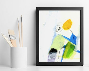 """Abstract Painting Original small acrylic painting Yellow and green wall art gift for her """"California Trip 01"""""""