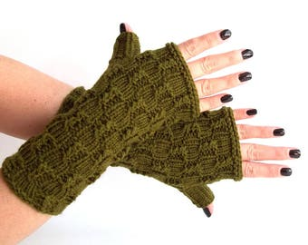 Olive Knit Fingerless Gloves. Knitted Fingerless Mittens. Arm Warmers. Wrist & Hand Warmers. Women Accessories.