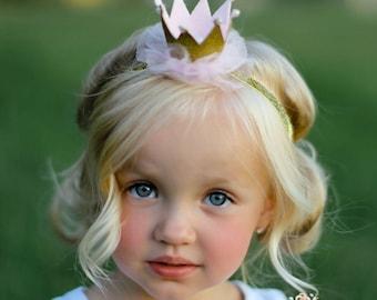 Gold baby crown headband- crown headband - baby headband- Gold princess crown- infant crown headband - newborn crown glitter crown