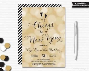 New Years Invitation New Years Party Invite New Years Eve Invitation New Years Eve Party Invite Bubbly Bokeh Bubbles Champagne Black Gold