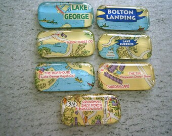 Adirondack Glass Magnets, Clearance Sale Lot of 7 NY Lake Magnets