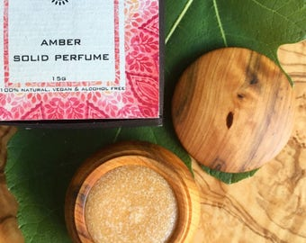 Amber Solid Natural Perfume made from Moroccan Amber resin. Unique Gift. Vegan and alcohol free.