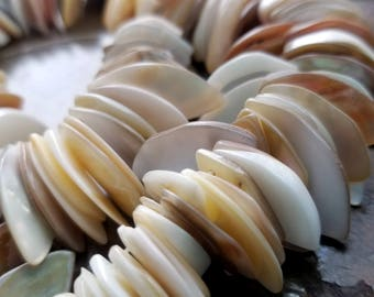"Shell Beads, Mother-of-Pearl Shell (natural) Beads, 14 x 8 mm - 24 x 10 mm Marquise, Mohs Hardness 3-1/2, 15"" - 16"" strand, Jewelry Supplies"
