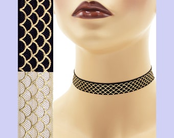 Metallic Gold Scales Elastic Choker 5/8 inch wide Custom necklace Mermaid tail Dragon Snake snakeskin fish water waves stretch ivory black