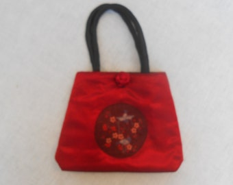 Vintage Red and Black Asian Silk  Purse