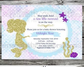 Mermaid Baby Shower Invitation, Mermaid Birthday Invitation,  Printed Invitation, Glitter Mermaid, Girl Invitation, Under the Sea Invite