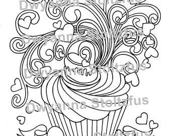 Valentine Cupcake 2 Coloring Page JPG