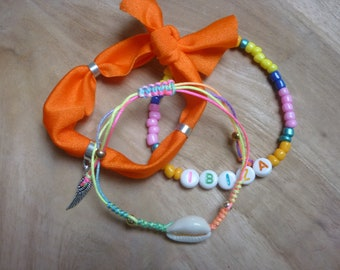 Ibiza summer beads bracelets set with shell and seed beads ibiza elastic orange