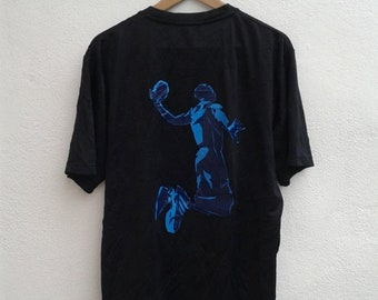 LABOUR ON SALE 10% Vintage 90s Adidas Basketball Big Graphic Jumping Man Nba Jersey Shirt Size M Sportswear Gear