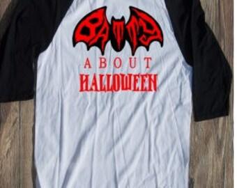 Batty about halloween Tshirt raglan tee baseball fall autumn trick or treat