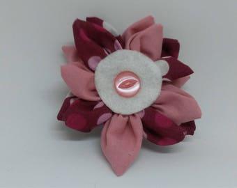 Spotted fabric flower brooch, pink brooch, kanzashi brooch, fabric brooch, brooches and pins, ladies brooch, ladies accessories.