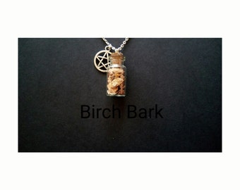 Genuine Wiccan Herb Bottle Amulet Necklace. Birch Bark, Protection And Courage.