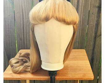 Alice in Wonderland Park Style Adult Costume Wig & Bow - Light / Dark Blonde