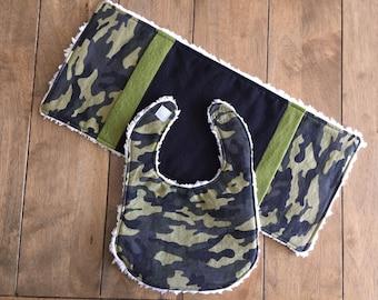2 pc Baby Bib and Burp Cloth Gift Set - Camouflage