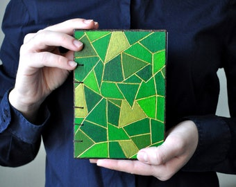 Wooden Green Travel Notebook, A6 Handmade Journal, Blank Handbound Note Books, Diary, White Pages, Coptic Binding