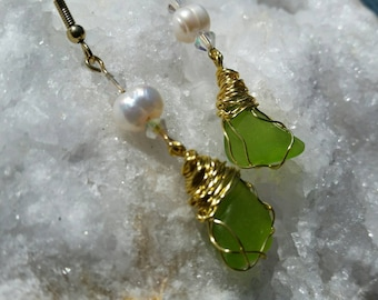 Sea Glass with Freshwater Pearls, Sea Glass, Recycled Glass, Eco Glass
