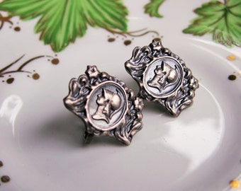 Antique Sterling Silver Embossed Floral Roman Soldier Profile Screw On Earrings Marked STERLING