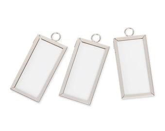 1 x 2 Inch Framed Glass Pendants, Set of 3  Solder Free Frames, For Photos, Dried Flowers, Ephemera