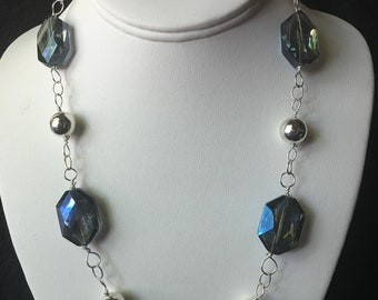 Blue Glass, and Silver Beaded Necklace