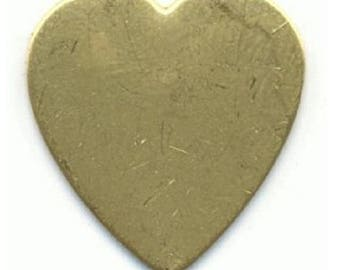 Brass stamping, 24mm x 23mm flat brass heart, 24 gauge heart-01