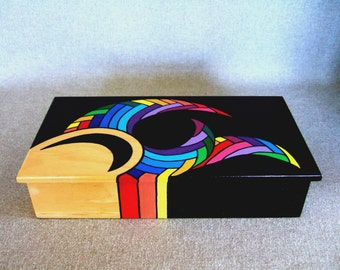 HOLD FOR ADON Unique Keepsake Box Rainbow Color Jewelry Box Rad Gift For Dad Signed Artwork Home Decor Office Decor Office Gift Unique Gift