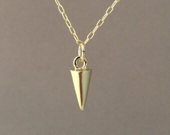 Tiny Gold Spike Necklace