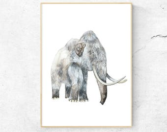 Watercolor Print, Art Print,  Watercolor Mammoth, Illustration, Nursery Print, Wall Art, Scandinavian Art, Baby Room, Mammoth Illustration
