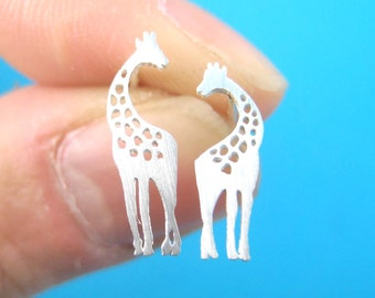 Classic Giraffe Silhouette Shaped Stud Earrings in Silver  | Minimalistic Handmade Animal Jewelry