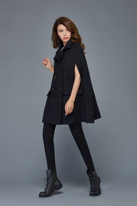 Black cape coat plus size