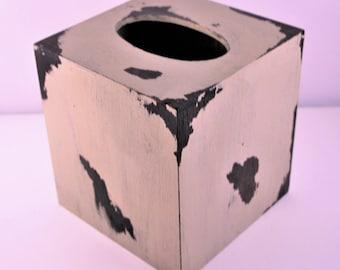 Distressed Grey/Beige Square Tissue (Kleenex) Box Cover. Greige Tissue Box Cover