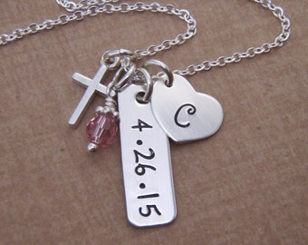 Girl's Cross, Initial, Date, and birthstone Necklace - First Communion Necklace - Sterling silver charm necklace -  Photo NOT actual size
