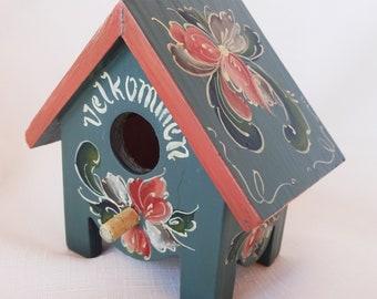 Cute Norwegian Hand Rosemaled Tiny Bird House