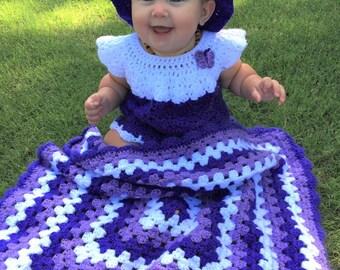 Crochet Baby Blanket, purple lavender and white, crochet baby girl blanket gift, granny square Afghan blanket, nursery baby shower gift