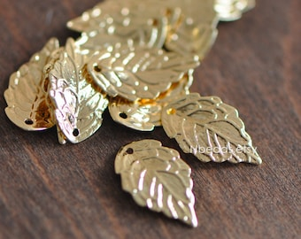 10pcs Gold plated Brass Leaf Charms 18mm (GB-028)