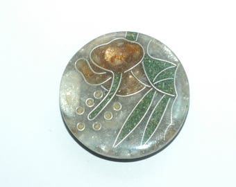 "Large Decorative Button. Aqua, dusty rose, teal resin mosaic button. Size 1 1/2"" (38mm)"