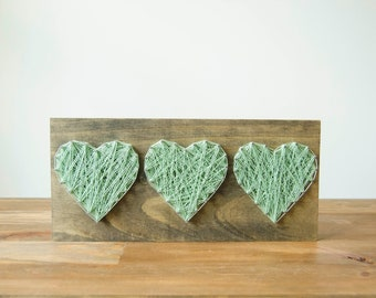 Three Hearts - String Art - Wood Wall Decor - Farmhouse Decor - Mother's Day Gift - Rustic Home Decor - Country Home Decor - Wood Decor