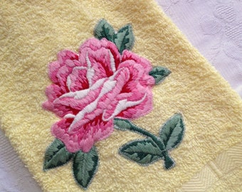 Cannon Yellow Terry Cloth Hand Towel Large Pink RoseApplique NOS