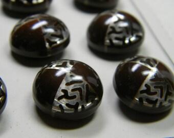 Twelve Czecho Slovakia Celluloid Brown Glow Bubble Buttons