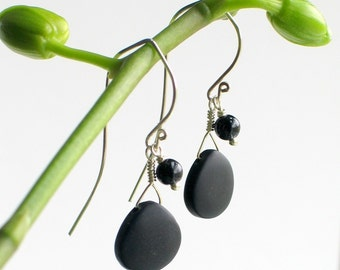 Basic Black Glass Dangle Earrings, Matte Glass and Silver, Black Tourmaline and Sterling Dangle Earrings, Cool Classic, Sleek and Elegant