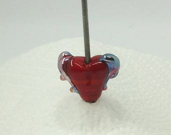 Red winged heart lampwork bead
