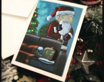 Santa's Close Call - Illustrated Christmas Card