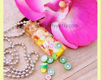 Fruit Salad Bottle Necklace  ,  Fruit Cane Bottle Necklace 2ml , Keyring , Handmade By: Von'Dez Redman